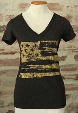 Gold Fleur De Lis Flag Black Ladies Tri-blend Deep V-Neck Tee