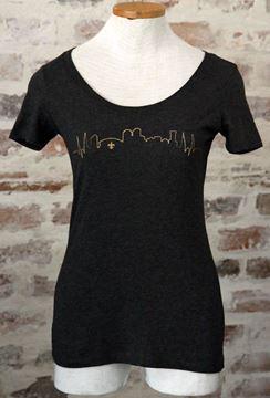 NOLA Skyline Vintage Black Ladies Tri-blend Scoop Neck Tee