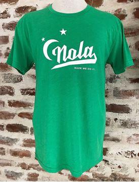 """NOLA Made Me Do It"" Green Tri-Blend Unisex Crew Neck Tee"