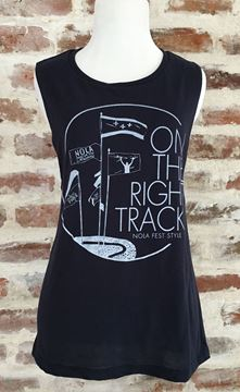 On the Right Track Ladies' Flowy Scoop Muscle Tank Top