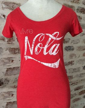 Vivre NOLA Vintage Red Ladies Tri-blend Scoop Neck Tee