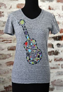 FEST Guitar Heather Gray Ladies Tri-blend Scoop Neck Tee