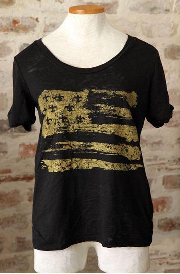 Gold Fleur De Lis Flag Wide U Neck Black Burnout Tee