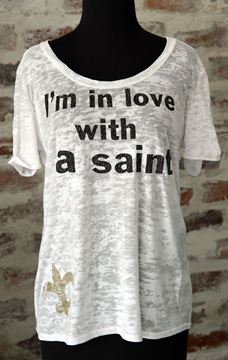 I'm In Love With a Saint Wide U Neck Burnout Tee
