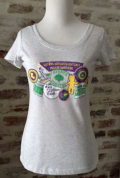 Mardi Gras Badges Ladies Tri-blend Scoop Neck Tee