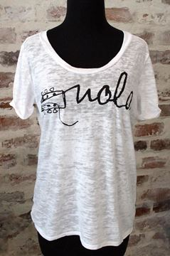 NOLA Strings Wide U Neck Black Burnout Tee
