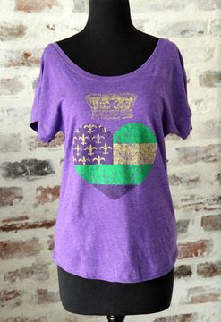 Mardi Gras Heart & Crown Ladies Tri-Blend Dolman Tee