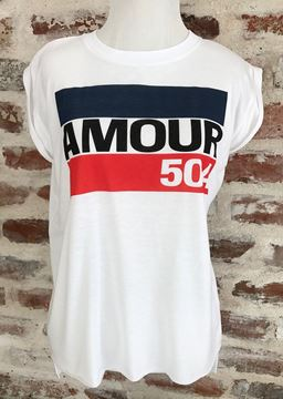 """""""AMOUR 504"""" Ladies' Flowy Muscle Tee with Rolled Cuff"""