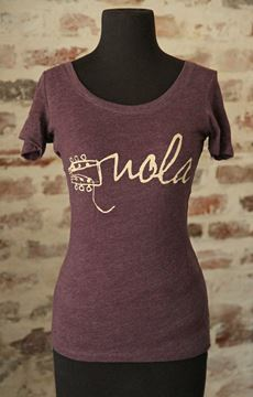 NOLA Strings Vintage Purple Ladies Tri-blend Scoop Neck Tee