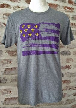 Purple & Gold Fleur De Lis Flag Unisex Tri-Blend Gray Crew Neck Tee