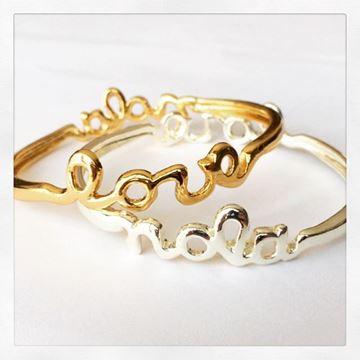 """NOLA - LOVE"" Gold Plated Bangle Bracelet"