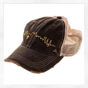 NOLA Skyline Vintage Black Cotton Brown Tint Trucker's Hat