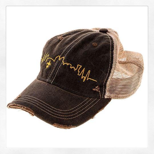 NOLA Skyline Vintage Black Cotton Brown Tint Trucker s Hat 239ca537c23
