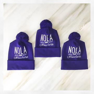 Nola or Nowhere Mardi Gras Pom Pom Hat