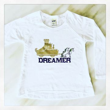 """Mardi Gras Dreamer"" White Girls Sheer Jersey Raw Edge Raglan High Low Long Sleeve"