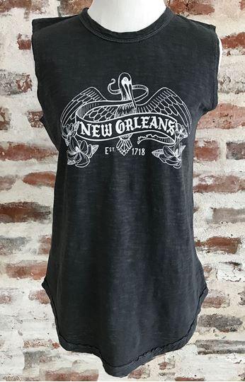 NOLA Pelican Ladies Garment Dyed Slub Sleeveless T-Shirt