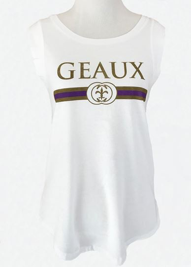 Picture of Geaux Purple & Gold White